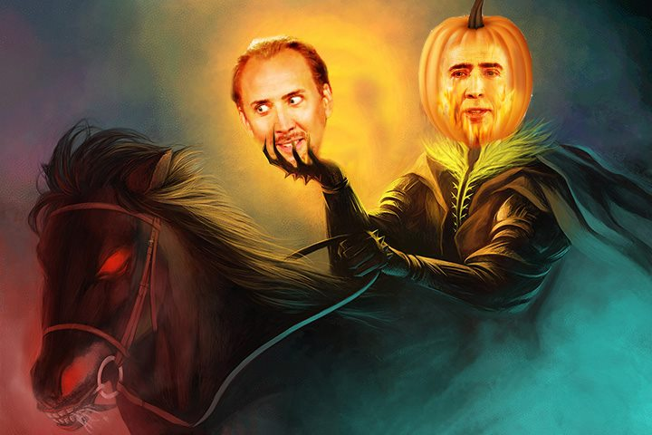 Mounted Halloween Horror Roams Countryside Searching For Lost Hairline
