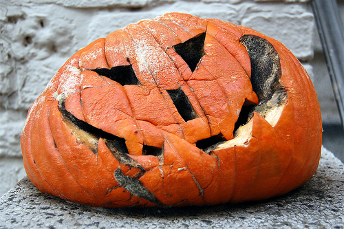 Wilting Jack-O-Lantern Reminds Local Sad Man Of His Own Mortality