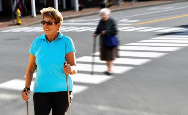 Old Lady With 1 Walking Stick Easily Overtaken By Old Lady With 2 WalkingSticks